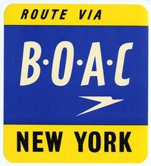 luggage label: BOAC (British Overseas Airways Corporation)