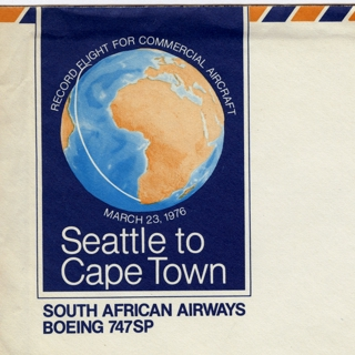 airmail flight cover: South African Airways, Boeing 747SP, Seattle - Capetown route