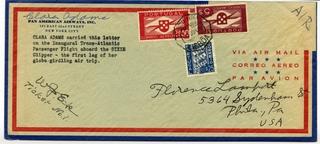 """airmail flight cover: Pan American Airways, Boeing 314 """"Dixie Clipper"""", Clara Adams"""