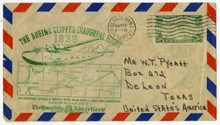 airmail flight cover: Pan American Airways, Boeing 314