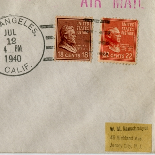 airmail flight cover: United States Air Mail, first airmail flight, FAM-19, Los Angeles - Noumea (New Caledonia) route