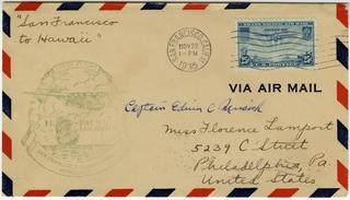 airmail flight cover: Pan American Airways, FAM-14, first transpacific airmail flight, San Francisco (Alameda) - Honolulu route