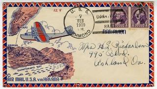 airmail flight cover: Pan American Airways, USS Richmond, Miami - Havana route