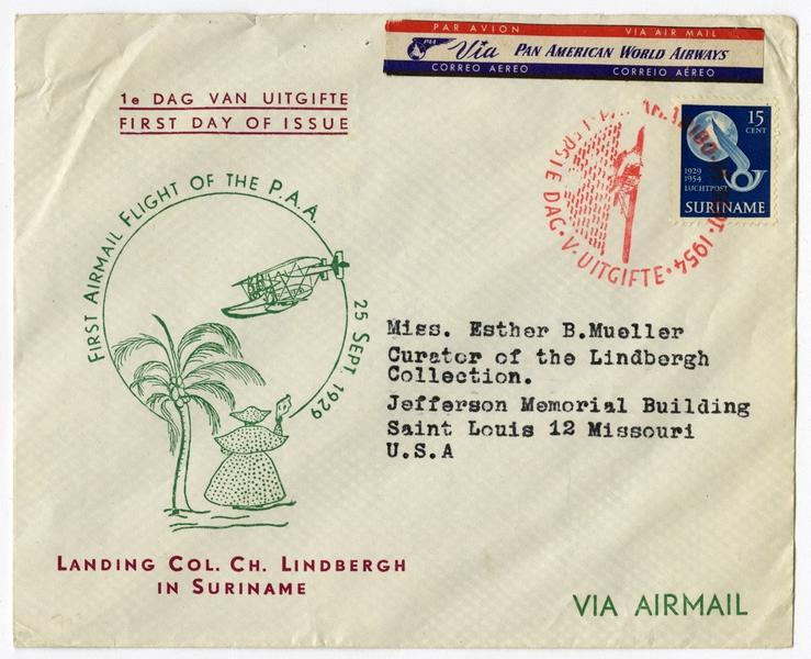 airmail flight cover: Pan American World Airways, 25th anniversary of Lindbergh flight, Suriname
