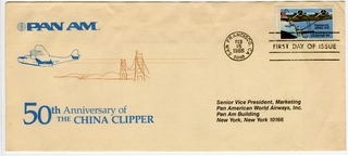 airmail flight cover: Pan American World Airways, first day of issue, China Clipper 50th anniversary stamp