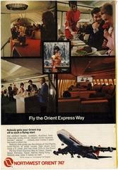 advertisement: Northwest Orient Airlines, Boeing 747