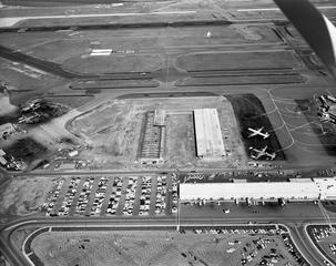 negative: San Francisco International Airport (SFO), aerial, cargo building construction