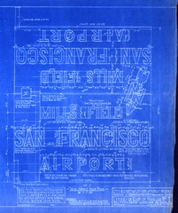 architectural drawing: Mills Field Municipal Airport of San Francisco, Letters on Roof of Hangar No. 1