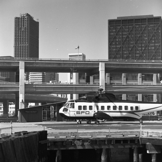negative: SFO Helicopter Airlines, downtown San Francisco heliport