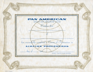 employee certificate: Pan American World Airways, course instruction