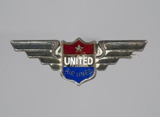 service pin: United Air Lines, stewardess, 5 year