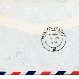 airmail flight cover: Pan American Airways, San Francisco - Singapore route