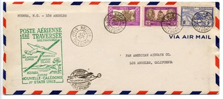 airmail flight cover: Pan American Airways, first airmail flight, Noumea (New Caledonia) - Los Angeles route