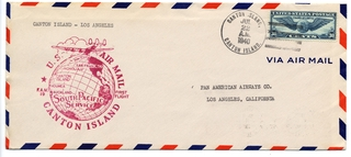 airmail flight cover: United States Air Mail, FAM-19, Canton Island - Los Angeles route