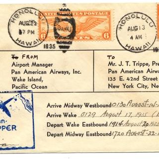 airmail flight cover: Pan American Airways, Honolulu - Wake Island - New York route