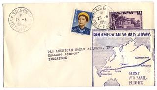 airmail flight cover: Pan American World Airways, Saigon - Singapore route