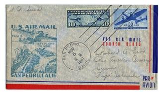 airmail flight cover: United States Air Mail, FAM-19, San Pedro - Suva (Fiji) route