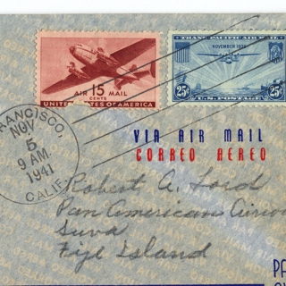 airmail flight cover: United States Air Mail, FAM-19, San Francisco - Suva (Fiji) route