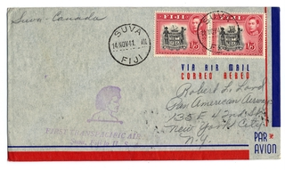 airmail flight cover: Transpacific Air Mail, Suva (Fiji) - Vancouver route