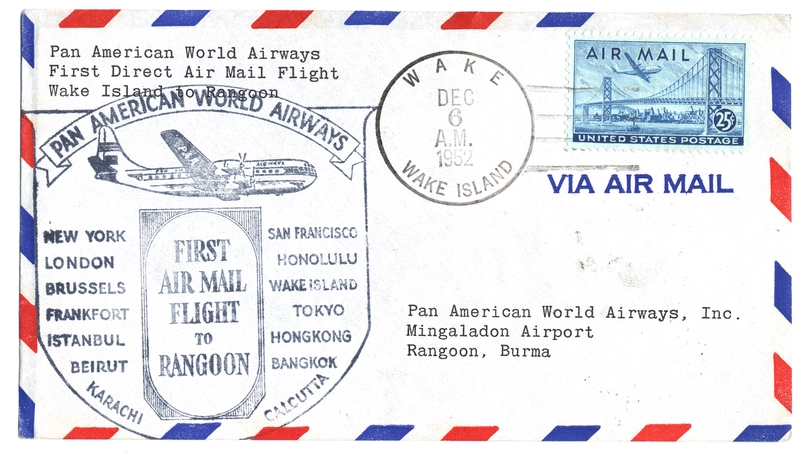 airmail flight cover: Pan American World Airways, Wake Island - Rangoon route