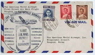 airmail flight cover: Pan American World Airways, Bangkok - Rangoon route