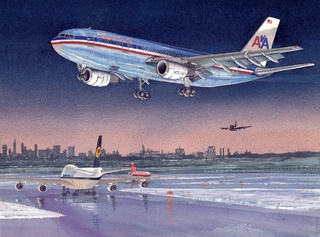 greeting card: American Airlines, Airbus A300