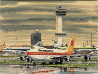 greeting card: Continental Airlines, Boeing 747