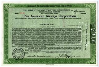 stock certificate: Pan American Airways Corporation