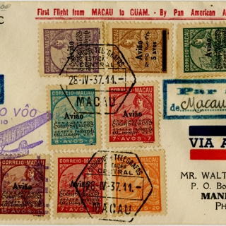 airmail flight cover: Pan American Airways, first airmail flight, Macao - Guam route