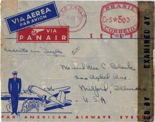 airmail envelope: Pan American Airways, Panair do Brasil