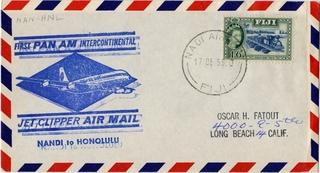 airmail flight cover: Pan American World Airways, Nandi, Fiji - Honolulu route