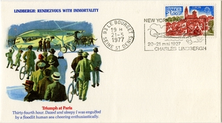 airmail flight cover: Charles Lindbergh, 50th Anniversary