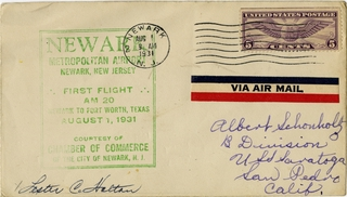 airmail flight cover: First airmail flight, AM-20, Newark Metropolitan Airport, New Jersey