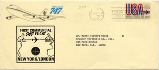 airmail flight cover: Pan American World Airways, Boeing 747, New York - London route