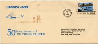 airmail flight cover: Pan American World Airways, China Clipper 50th Anniversary