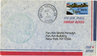 airmail flight cover: Pan American World Airways, Los Angeles - Frankfurt route