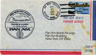 airmail flight cover: Pan American World Airways, Detroit - London route