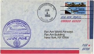 airmail flight cover: Pan American World Airways, Washington, DC - Frankfurt route