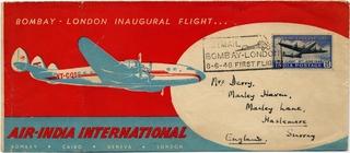 airmail flight cover: Air-India, Lockheed L-049 Constellation