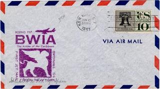airmail flight cover: BWIA (British West Indies Airways), Boeing 707, New York - Trinidad route