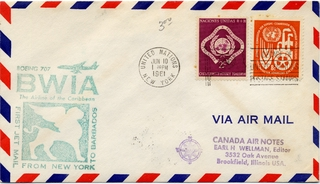 airmail flight cover: BWIA (British West Indies Airways), Boeing 707, New York - Barbados route