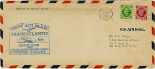 airmail flight cover: Pan American Airways, first Transatlantic air mail service, London - New York route