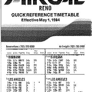 timetable: AirCal, quick reference