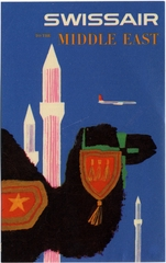 luggage label: Swissair, Middle East