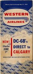 fare schedule: Western Airlines, Douglas DC-6B