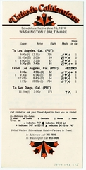 timetable: United Airlines, quick reference, Washington, D.C. / Baltimore