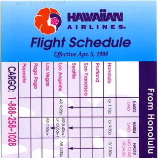 timetable: Hawaiian Airlines