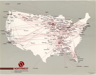 route map: Northwest Airlines, domestic routes
