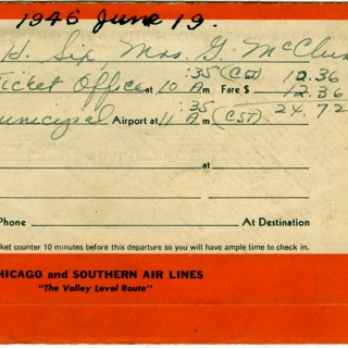 ticket jacket and ticket: Chicago & Southern Air Lines (C&S)
