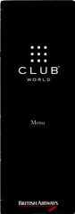 menu: British Airways, Club World (Business Class)
